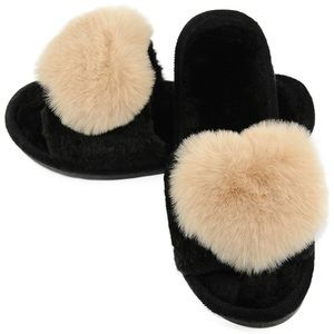 Shoes - Fuzzy Fluffy Furry Fur Slippers Flip Flop Open Toe